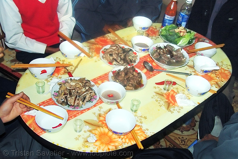 dog meat dinner - dishes - thịt chó - vietnam, cooked dog, dinner, dish, food dog, meat, table, vietnam