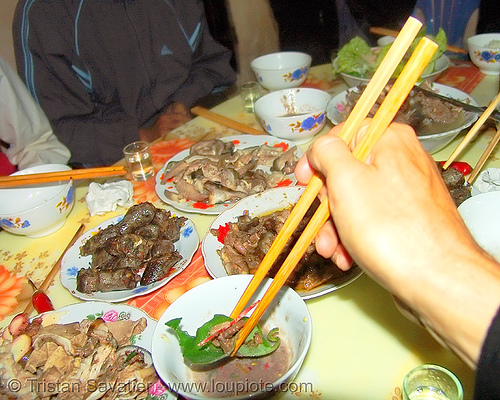dog meat dishes - dinner - dipping a bit in sauce - thịt chó - vietnam, chopsticks, cooked, dinner, dipping, dish, food dog, meat, vietnam