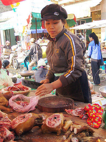 dog meat shop butcher - vietnam, butcher, carcass, dead dogs, dog heads, dog meat, food dog, head, lang sơn, meat market, street market